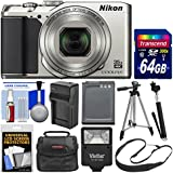 Nikon Coolpix A900 4K Wi-Fi Digital Camera (Silver) with 64GB Card + Case + Flash + Battery & Charger + Tripod + Selfie Stick + Kit