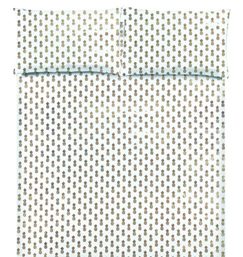 POSH HOME Metallic Foil Print 4 Piece Sheet Set (Queen, Pineapple Gold-White)