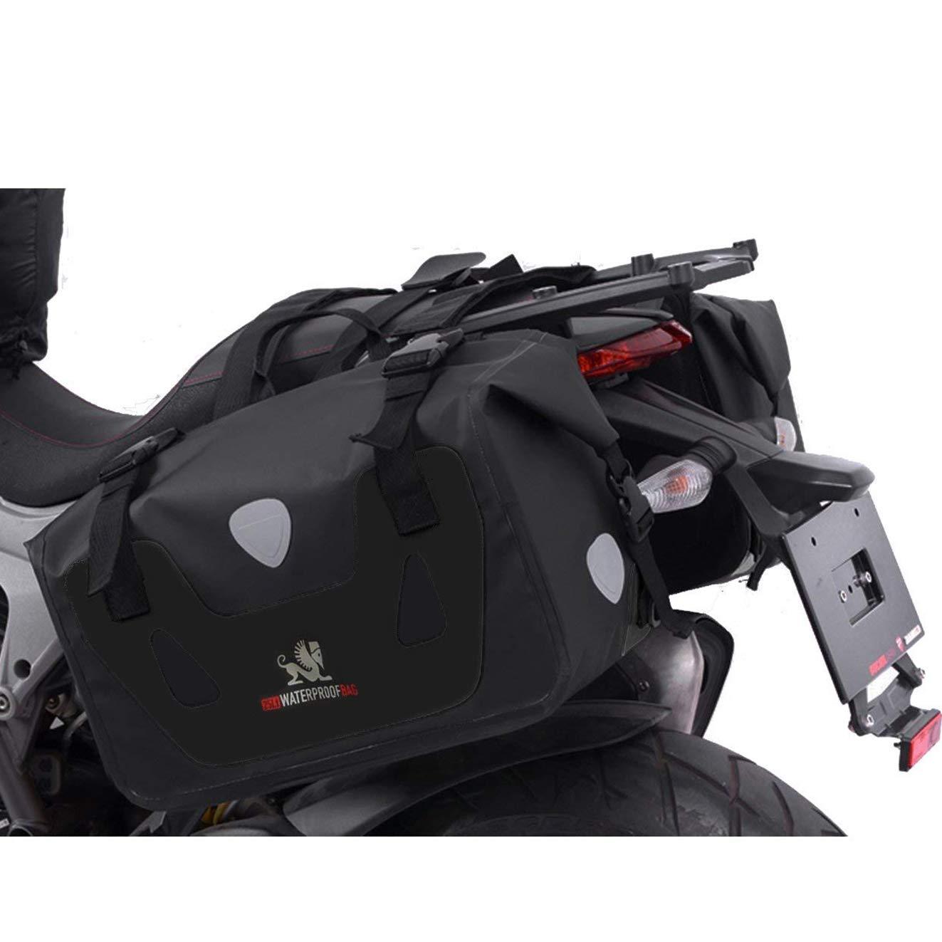 SEEU Motorcycle Dry Saddlebags 2pcs, 100% Waterproof Motorcycle Luggage,25 Liter Each Bag