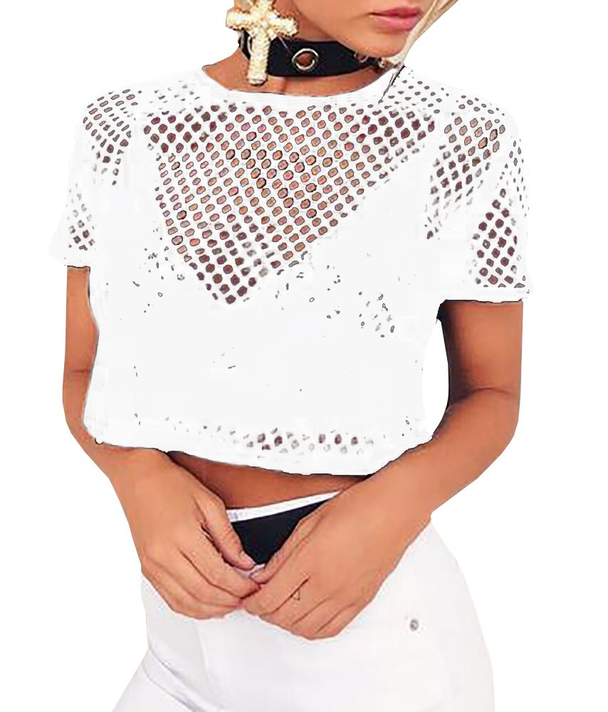 L&ZZ Women's Hollow Out T-Shirt Vest Top See Through Mesh Breathable T-shirt Top