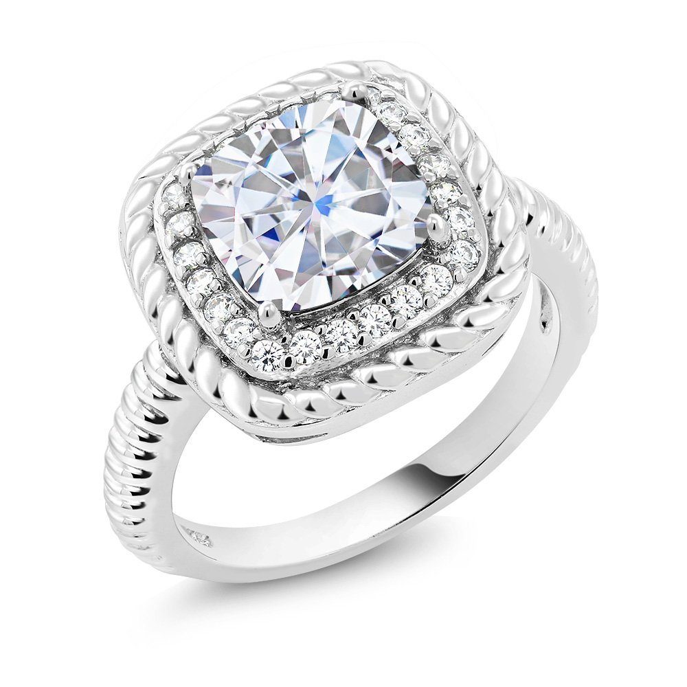 2.15 Ct Cushion Cut White Created Moissanite 925 Sterling Silver Engagement Ring