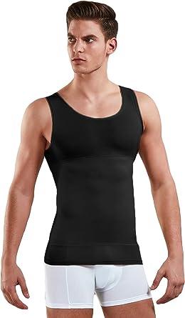 Camiseta Interior para Hombre, de 85% algodón, con Forma de Vientre, Color Blanco, Negro o Piel