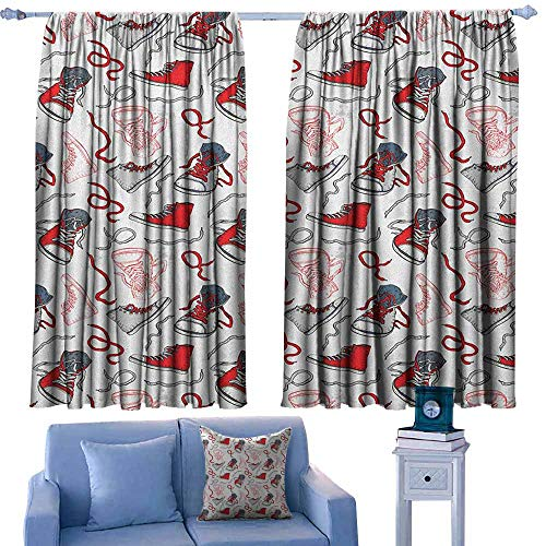 - Blackout Window Curtain,Modern Sport Shoes Sneakers Hobby Casual Fashion Teenage Old School Illustration,Simple Stylish,W72x63L Inches Vermilion White Grey
