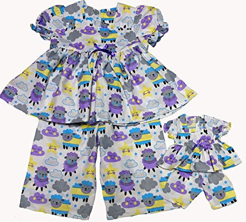 Size 12 Matching Girl And Doll Counting Sheep Pajamas by Doll Clothes Super store