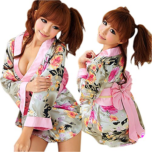 [LINGERIECATS Colorful Kimono 2 Pcs Costume] (Halloween Costumes For Asian Women)