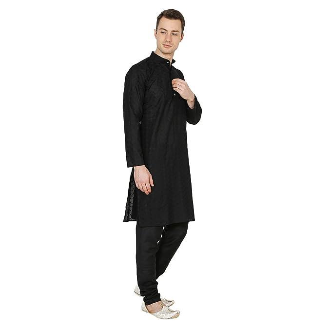 c5dbe8ef2fc4 Amazon.com  Royal Indian Traditional Wear Black Mens Designer Kurta Pajama  Cotton Ethnic Dress  Clothing