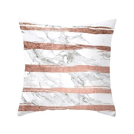 LEEDY - Funda de cojín geométrica con Textura de mármol para sofá de salón o Dormitorio con Cremallera Invisible de 45,7 x 45,7 cm, poliéster, F, ...