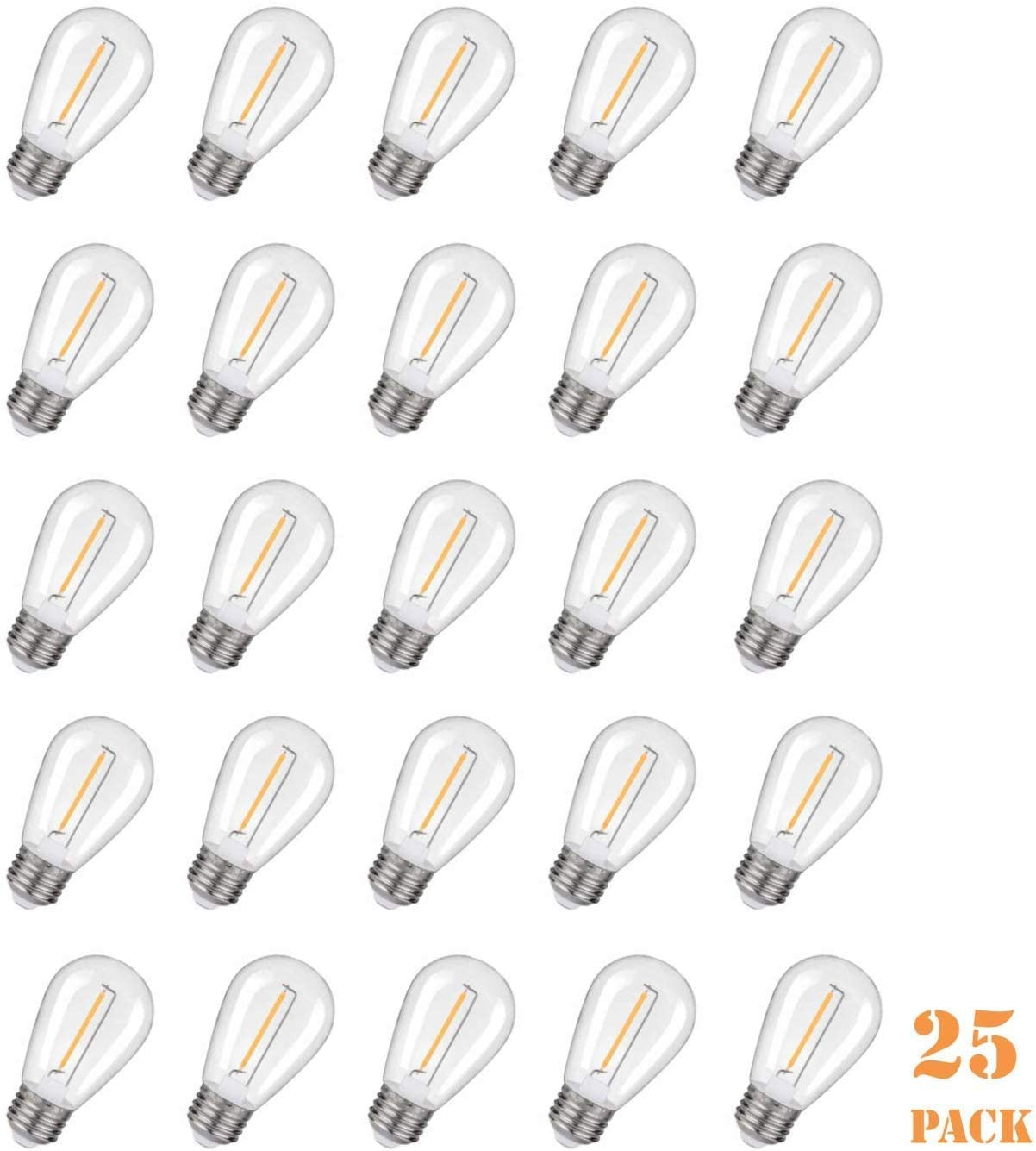 Emitting Shatterproof & Waterproof S14 Replacement LED Light Bulbs – 1W Equivalent to 10W, Non-Dimmable 2200K Plastic Bulbs, E26 Base Edison Bulbs (25 Pack)