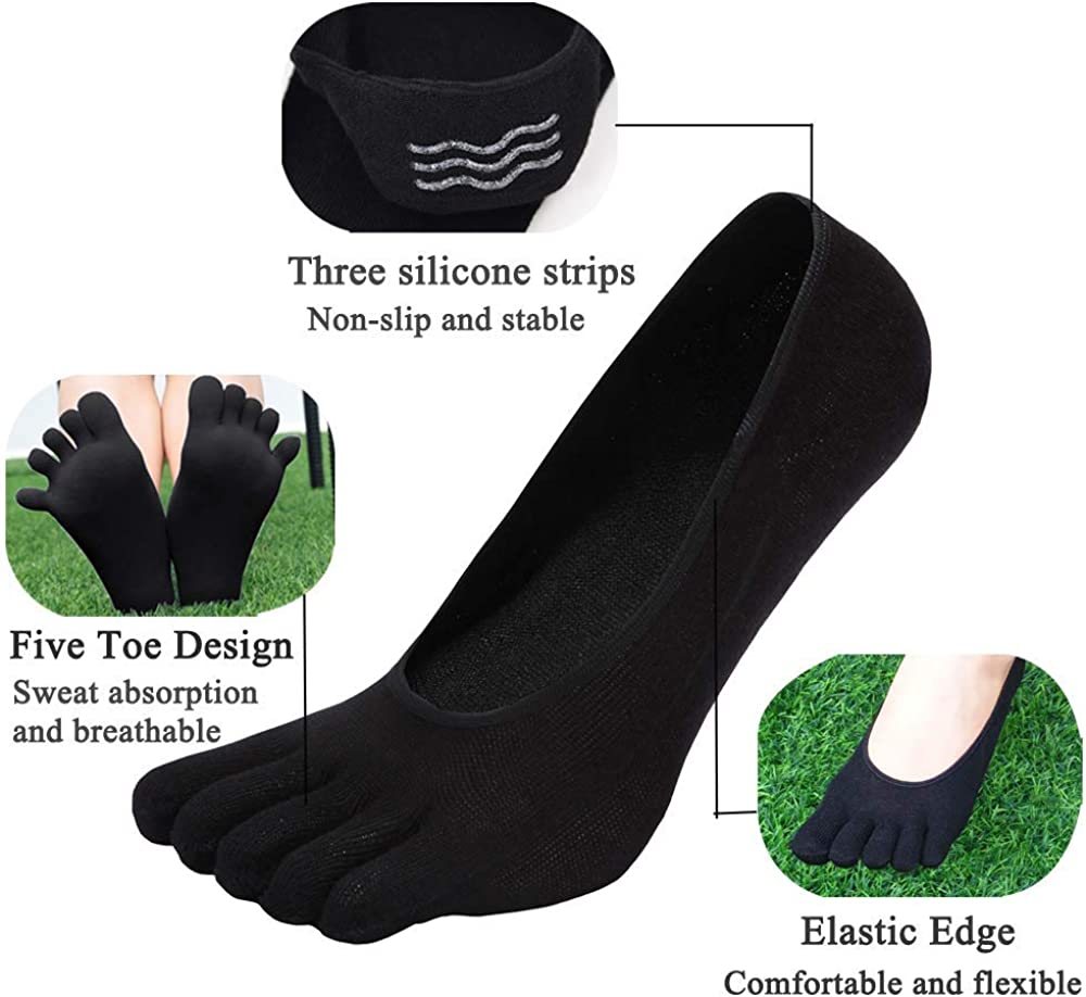 No Show Five Fingers Separate Invisible Toe Ankle Socks Low Cut Running Crew Socks for Women Ladies Girls