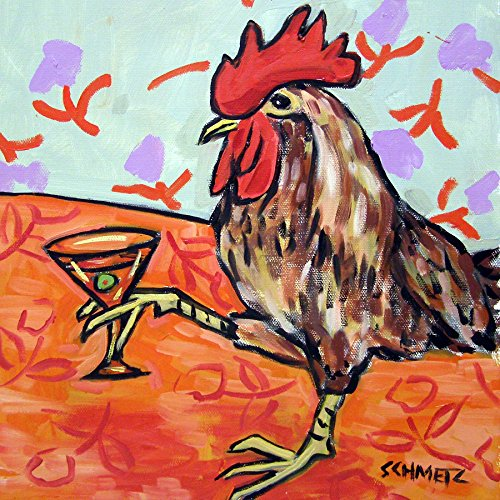 Chicken Hen Rooster at the Martini bar farm animal art tile coaster gift (& Rooster Coasters Hen)