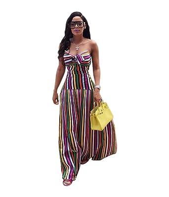 90debca4a5bb Amazon.com: LHAYY Womens Striped Rainbow Spaghetti Strap Backless Tie Knot  Party Maxi Dress: Clothing