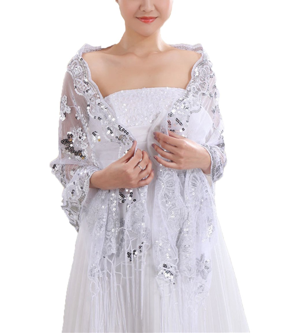 Women's Sequined Wedding Shawl Wrap Mother Of The Bride Evening Fashion Shawl Top Jacket Poncho Cover,White