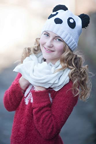 d8679cf3e9f Panda hat knitted beanie Girl knit beanie teen girl hat Animal beanie Fall hat  Panda bear