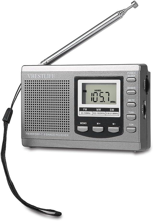 Topiky Radio FM portátil, Mini radios FM/MW/SW Receptor con Reloj Despertador Digital Receptor de Radio FM con Auriculares(Gris): Amazon.es: Electrónica