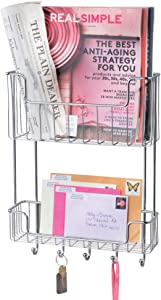 mDesign Large Metal Wire Wall Mount Mail, Letter, Magazine Holder, Storage Organizer Rack with Hooks for Entryway, Hallway, Mudroom, 2-Tier - Chrome