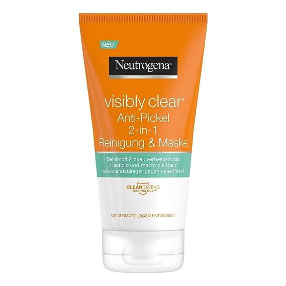 Neutrogena visibly Clear - Herramienta de 2 en 1 Lavado & Máscara/limpieza y máscara facial con sonido Tierra contra cepillado anti-imperfecciones y ...