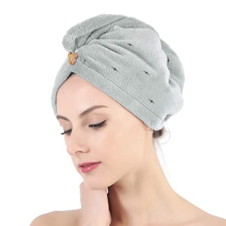 Toalla de secado de pelo con botón, toalla de pelo seco de microfibra para cabello