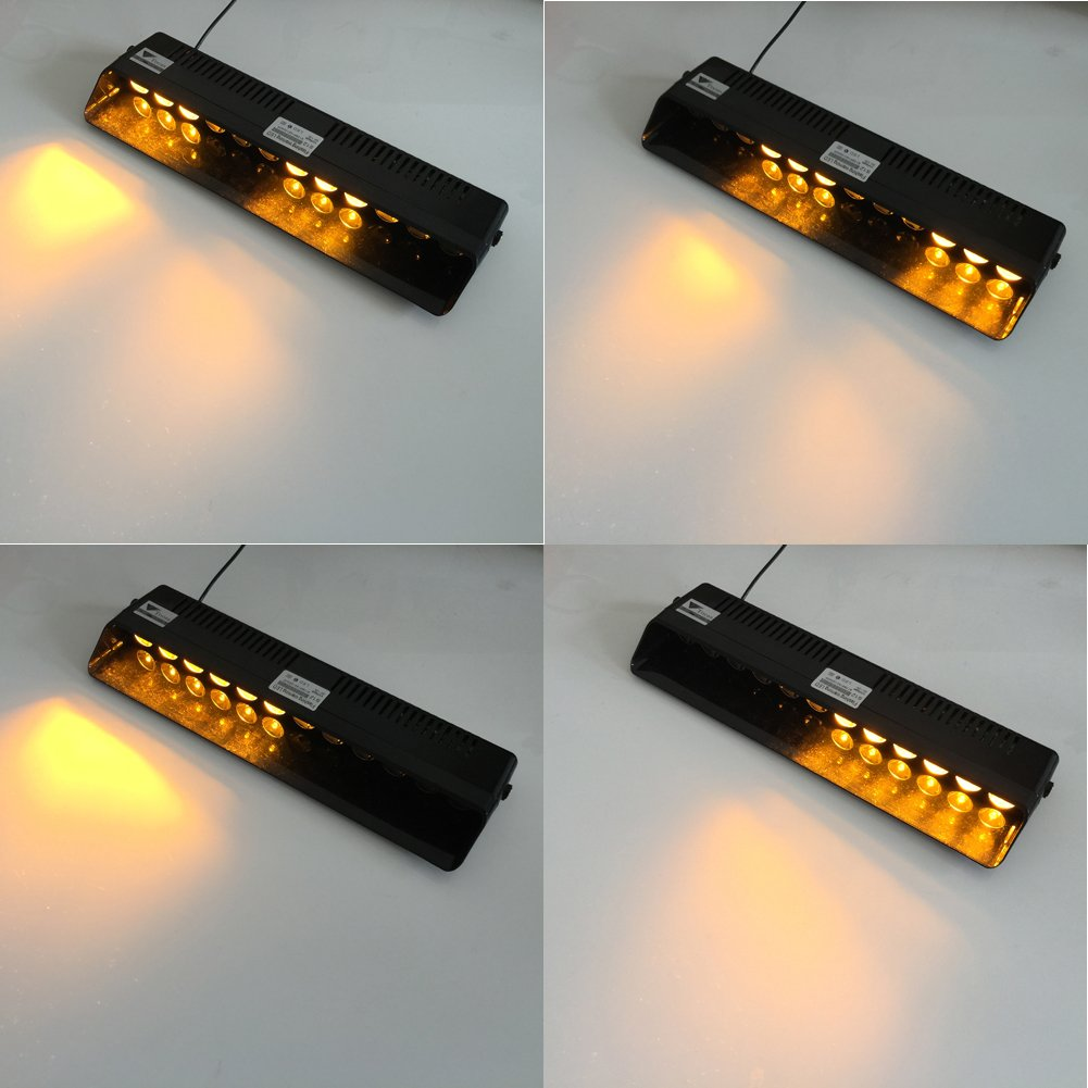 12 LED 14 Flashing Modes 12V Red and Blue T Tocas Recall Function 12W Auto Windshield Warning Light Bar