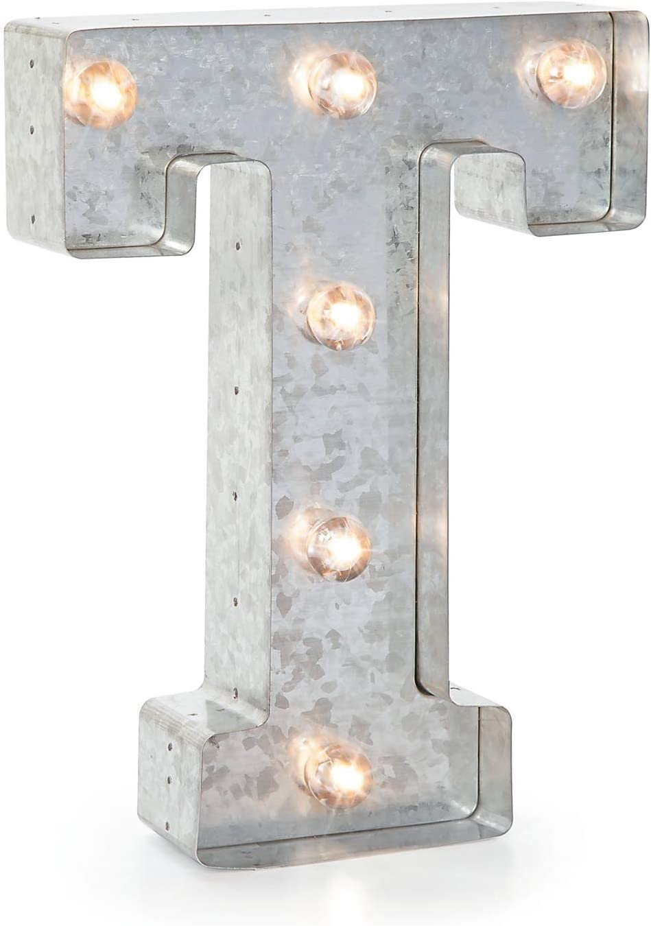 "Darice Silver Metal Marquee Letter – T - 9.87"" Tall, Galvanized Silver Finish"