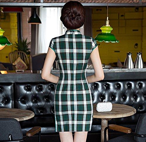 fessura Cotton con Piastrelle Pattern verde Cheongsam tradizionale colletto Woman Dress con Acvip Short Qipao Cinese wnv01qWxgP