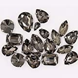 Sew on Rhinestones with Claws, Gray Rhinestones Mixed Shapes Glass Rhinestones for Crafts, Costume, Shoes, Jewelry Making, Ri