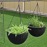 Set Of Two 13.8″ Round PE Rattan Garden Plant Hanging Planters Decor Pots Black by eStoreShop For Sale