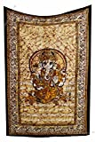 Amitus Exports(TM Premium Quality 1 X Batik Lord Ganesha Wall Hanging Home Decore 79''x52''(Approx.) Inches Yellow Orange Multi Color Twin Size Cotton Fabric Wall Hanging Tapestries (Handmade in India)
