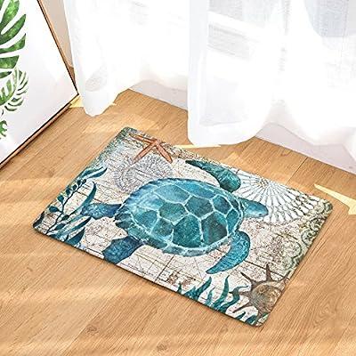 EZON-CH Modern Non Slip Watercolor Sea World Animal Home Bathroom Bath Shower Bedroom Mat Toilet Floor Door Mat Rug Carpet Pad Doormat