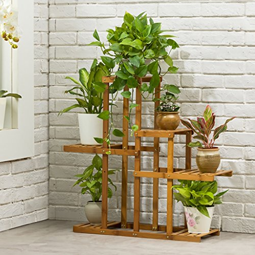 JHZWHJ Wooden Flower Rack Indoor Plant Stand Wooden Plant Flower Display Stand Wood Pot Shelf Storage Rack Outdoor (Color : A) by JHZWHJ