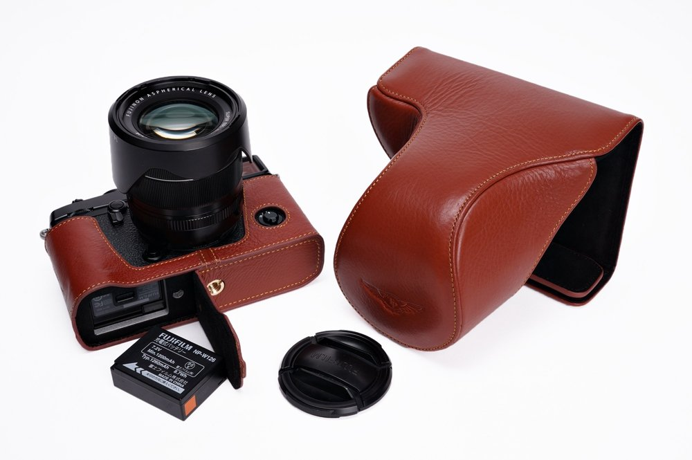 Handmade Genuine real Leather Full Camera Case bag cover for Fuji X-Pro2 Fujifilm X Pro2 (fit 16-50mm and 18-55mm Lens) Bottom opening Version - Brown
