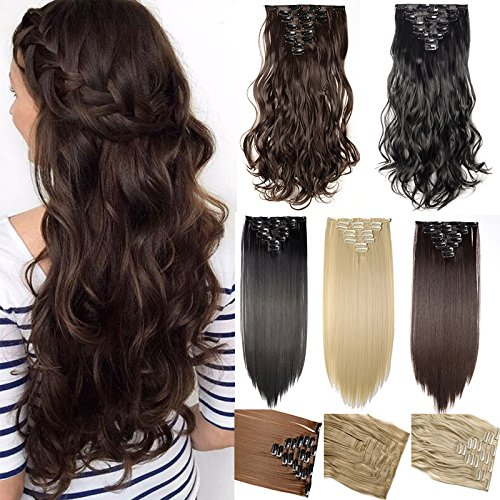 (S-noilite17 inches(43CM) Long Curly Wavy Natural Black Clip in on 8 Pieces Full Head Set Hair Extensions 100% Real Natural Like Human Top Synthetic Hairpiece)