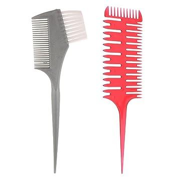 ... Profesional de 3 Vías Accesorio para Peinado de Cabello + Cepillo Doble Lado Comb de Plástico para Tinte Aplicación Colorear de Pelo: Amazon.es: Belleza