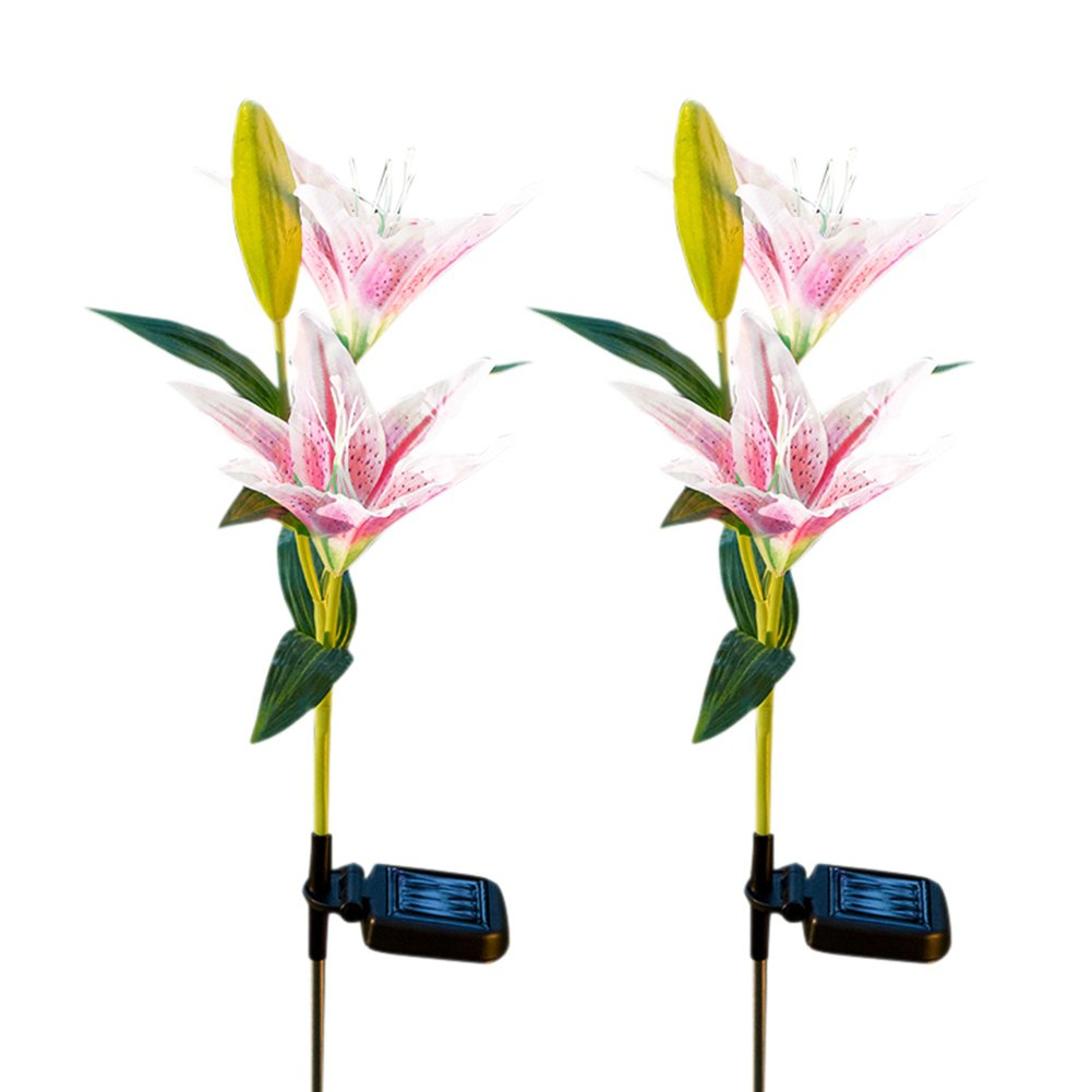 Outdoor Solar Garden Stake Lights Set of 2 Solar Powered Decorative Lights with 8 Lily Flower Multi-color Changing LED Solar Stake Lights for Garden, Patio, Pathway, Backyard Rechargeable LawnLights