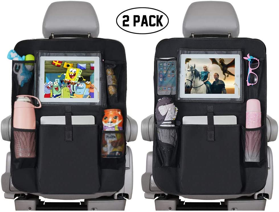 Black 2 Pack 5 Storage Pockets Vehicle Travel Interior for Toddlers Kick Mats Cover Car seat Protector with Touch Screen 10 Ipad Holder Backseat Car Organizer for Kids