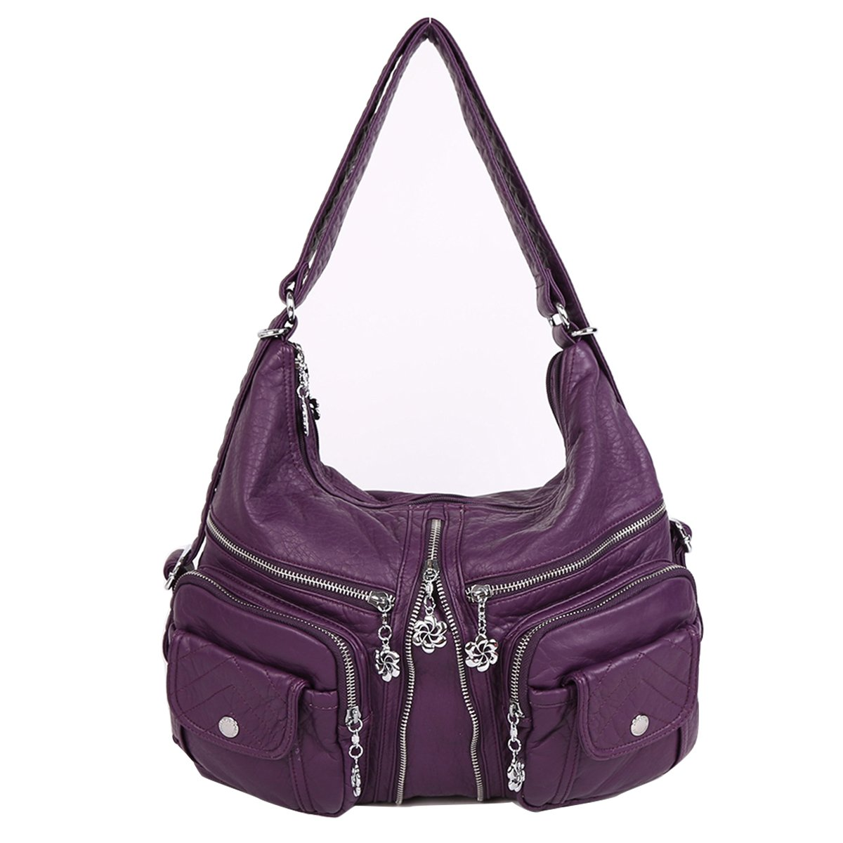 Angelkiss 2 Top Zippers Multi Pockets Handbags Washed Leather Purses Shoulder Bags Backpack AK678 (Purple)