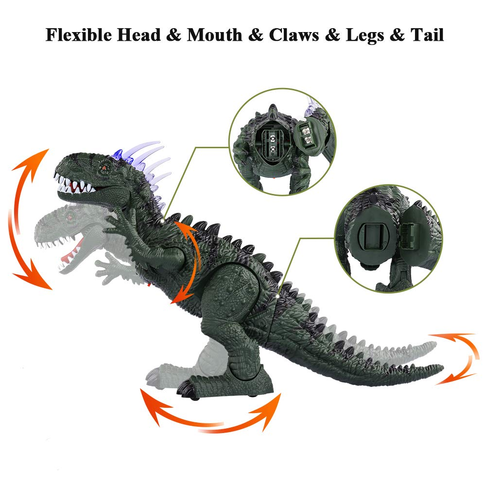 TEMI Electronic Walking Dinosaur LED Light Up Toys for Kids Boys Girls, Jurassic Green Tyrannosaurus T Rex Battery Powered Velociraptor Dragon Model w/ Sounds and Projection Lights, Laying Eggs by TEMI (Image #4)