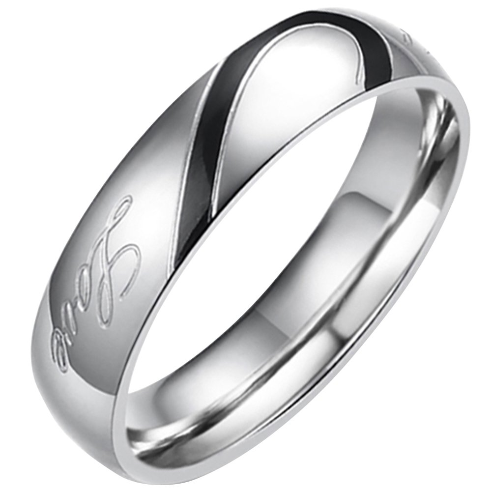 Flongo Men's Black Real Love Heart Matching Stainless Steel Couples Engagement Ring Wedding Promise Band, Size 11.5