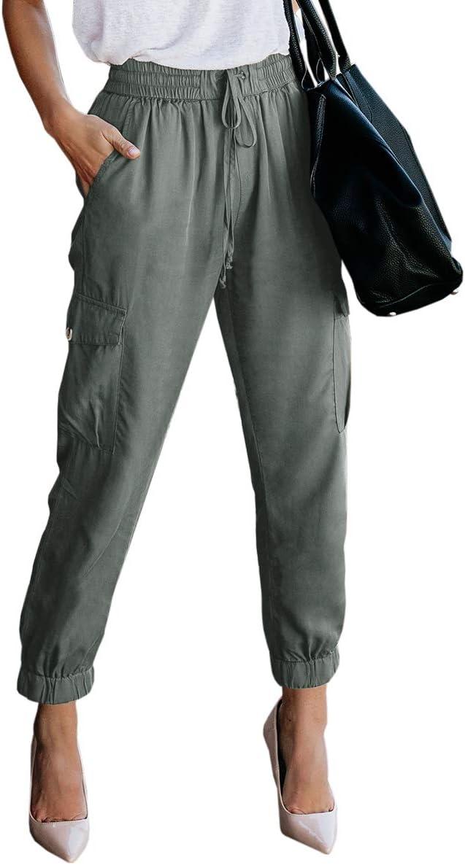المرأة مرونة الخصر كارجو عارضة الرباط السراويل طول الكاحل عداء ببطء سروال قصير مع جيوب