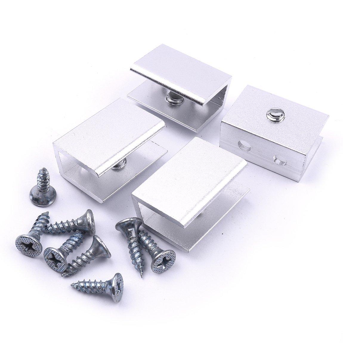 Adjustable Stainless Steel Glass Clamp Clip Holder 4pcs Glass Shelf Brackets