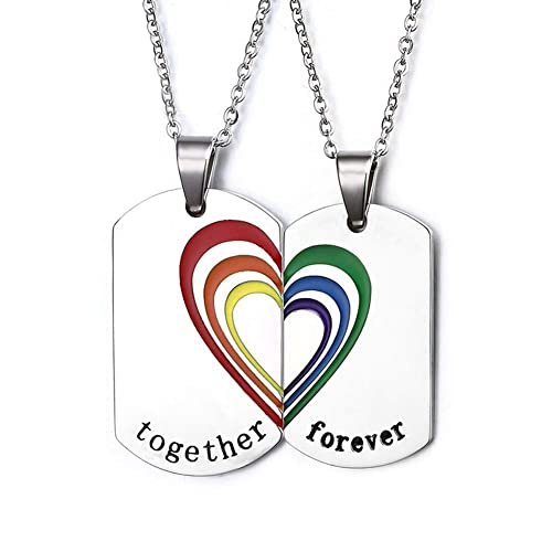 2370efcd62 LF 2Pcs Stainless Steel Gay Pride Couple Necklace Rainbow Pride LGBT Lesbian  Heart Matching Puzzle Gay Inspirational Friendship Pendant Necklaces with  Gay ...