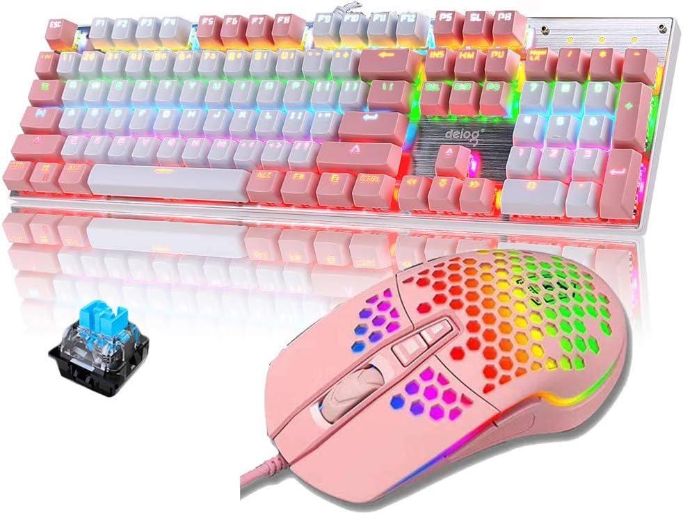 Packs de Teclado y ratón mecánico Gaming RGB Switch Blue 104 Teclas Disposición Ergonómica 9 Modos de iluminación RGB Teclado Ratón Gaming 6400 dpi para PC/Mac con Windows - Rosa
