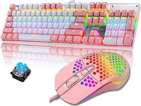 Packs de Teclado y ratón mecánico Gaming RGB Switch Blue 104 Teclas Disposición Ergonómica 9 Modos de iluminación RGB Teclado Ratón Gaming 6400 dpi ...