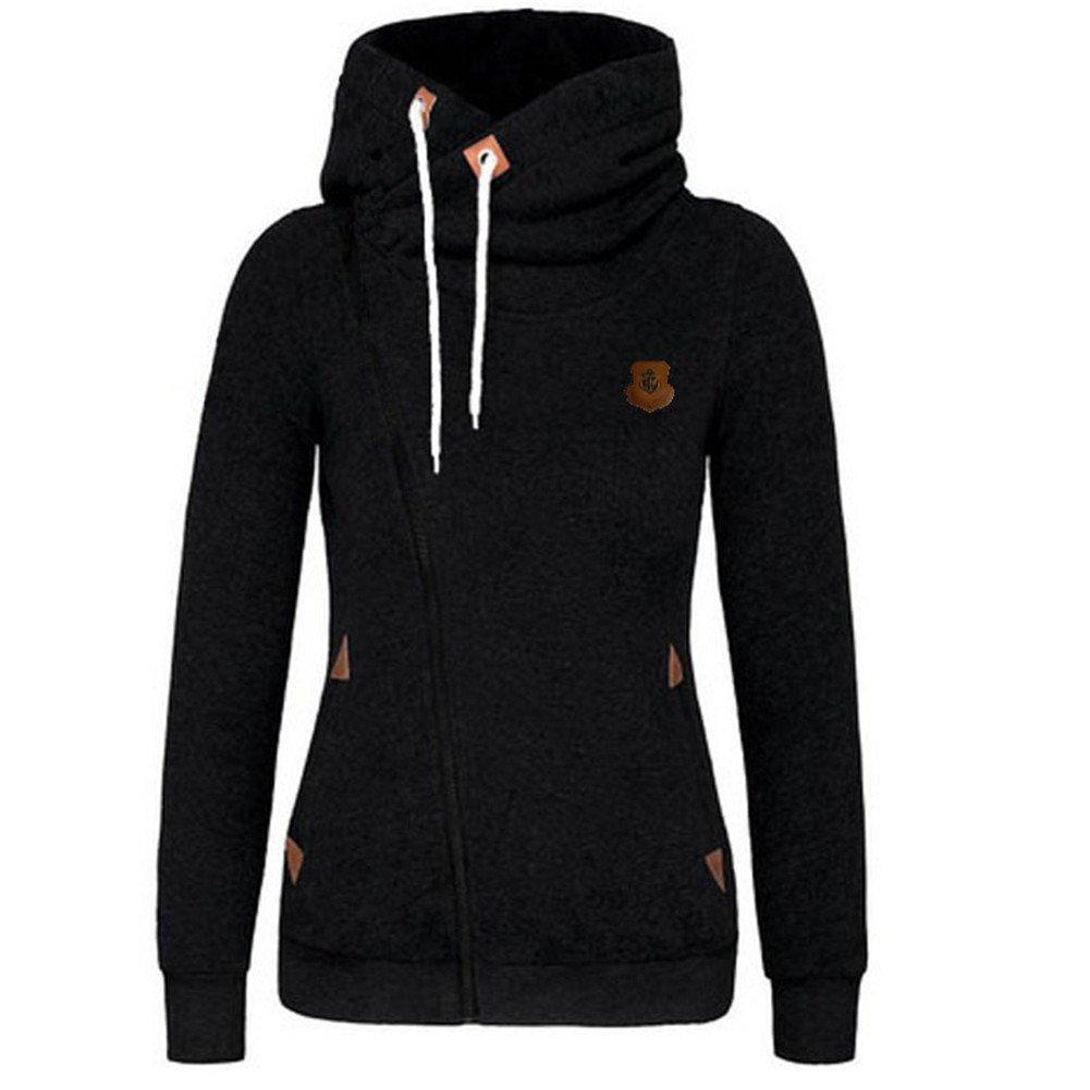 5780b21e4 Newbestyle Women Spring and Autumn Fashion Oblique Zipper Hoodies  Sweatshirt Jacket at Amazon Women's Clothing store: