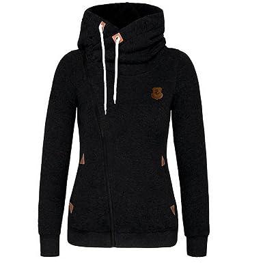 daca0b58f Newbestyle Womens Casual Zipper Fleece Hoodies Turtleneck Jacket Pocket  Sweatshirt Coat Black S