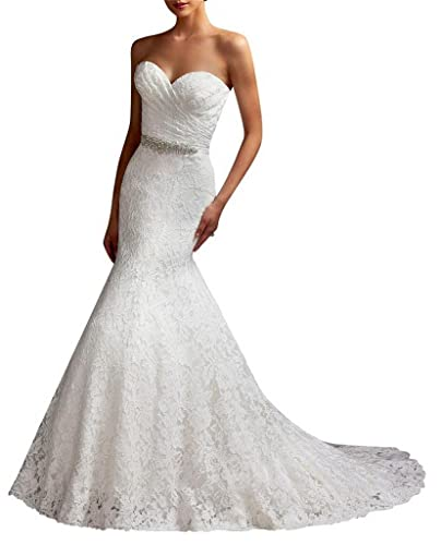 G Marry Women's Strapless Mermaid Lace Brial Wedding Dress
