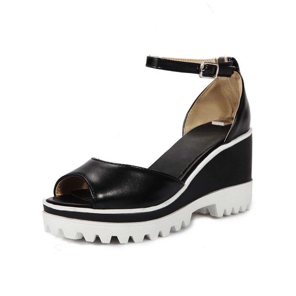 WeiPoot Women's High-Heels Soft Material Solid Buckle Peep Toe Platforms & Wedges, Black, 42