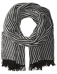 Women's Italian Striped Scarf With Eyelash Fringe Trim