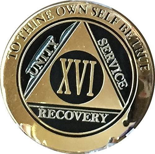33 Year AA Medallion Black Gold Plated Bi-Plate Alcoholics Anonymous Chip Coin