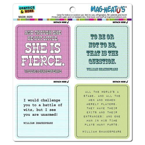 Graphics and More William Shakespeare Quotes Though She Be Fierce World's a Stage Mag-Neato's Car Refrigerator Locker Vinyl Magnet Set