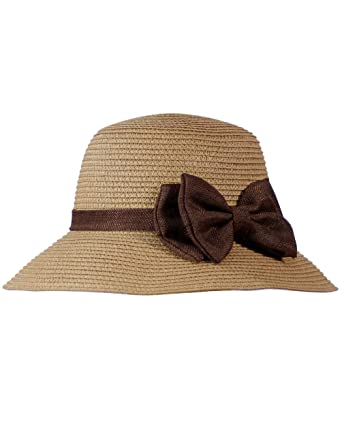dcb36c93b36 Dahlia Women s Summer Sun Hat - Casual Style Bow Straw Bucket Hat - Camel